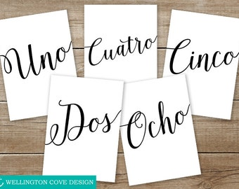 Printable Spanish Table Numbers 1-30 Wedding • Español Números de la tabla • Calligraphy Caligrafía • Boda Mesa • Instant Download Digital