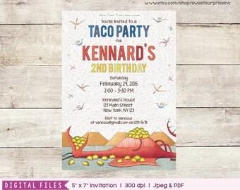 Dragons Love Tacos Invitation - Printable / Digital Print. Dragons Invitation. Tacos Invitation. First Birthday. Second Birthday Invitation.