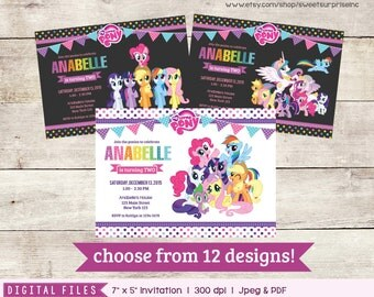 My Little Pony Invitation. Choose from 12 designs. Rainbow Invitation. -  Printable / Digital File. Birthday Invitation. 1st Birthday. 2nd