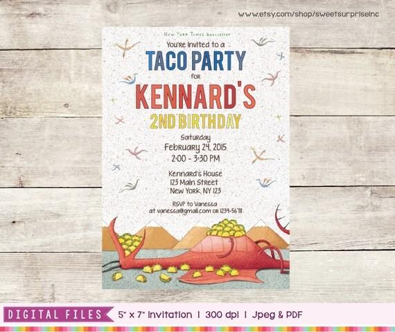 Dragons Love Tacos Invitation Printable / Digital Print.