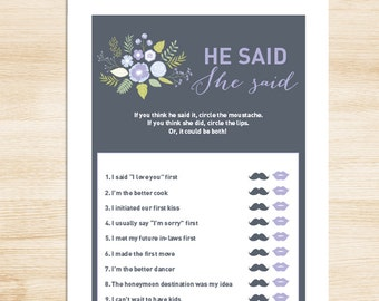 Floral Bridal Shower Game DIY // Lavender Purple Flower & Gray // He Said, She Said Printable PDF // Wedding Shower Game ▷ Instant Download