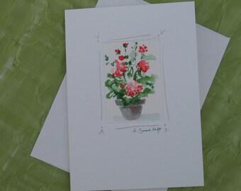 Handmade watercolor card, original geranium painting, blank card