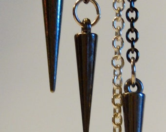 Asymmetric Black and Silver Spike Chain Earrings