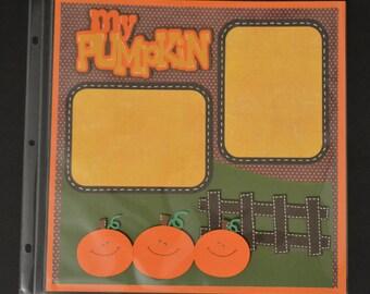 SALE My Pumpkin Pre-made 12x12 Scrapbook Page