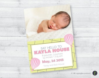 Hot Air Balloon Birth Announcement (girl)