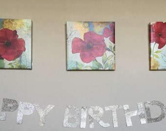 Glitter Happy Birthday Banner Garland - Birthday - Party - Decor