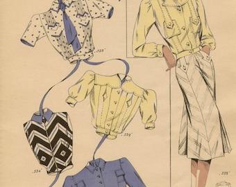 Original French 1940s fashion illustration