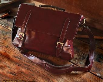Amish Laptop Messenger Bag Case Black, Brown, or Burgundy Leather USA Made To Order