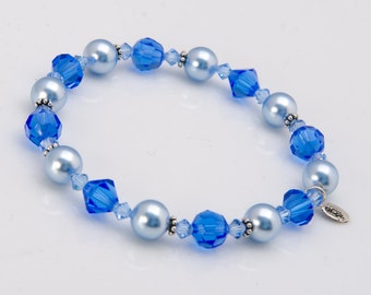 Blue Bracelet Blue Bridesmaid Gift Light Blue Pearl with Swarovski® Crystal, Blue Jewelry Sapphire Bracelet Swarovski Pearl