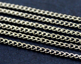 10 meters ( 33 Feet ) 2x3,4 mm Silver Tone Chain, Wire Thickness : 0.6 mm
