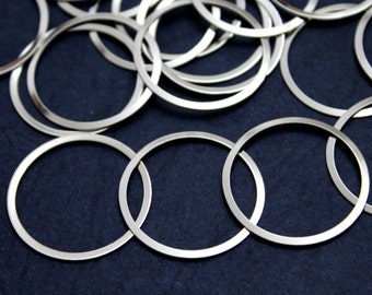 50 pcs 19 mm Round Raw Brass Silver Color