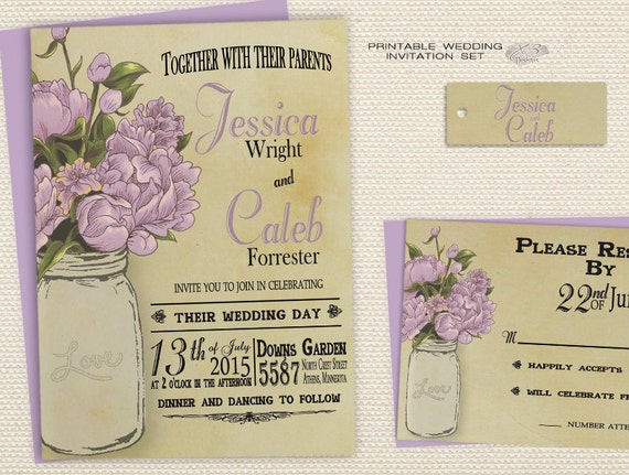 Summer Wedding Invitations: DIY Summer Rustic Wedding Invitations Barn Wedding By