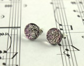 Dichroic Glass Earrings - Pink Fused Glass Earring Studs - Small Round Dichroic Glass Cabochons