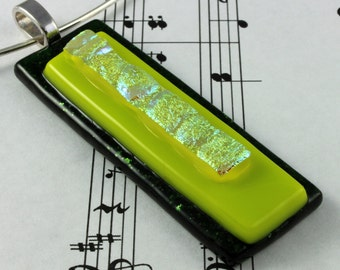 Dichroic Glass Pendant - Neon Lime Green & Sparkly Gold - Long Rectangle Pendant Necklace - Includes Silver Neck Wire