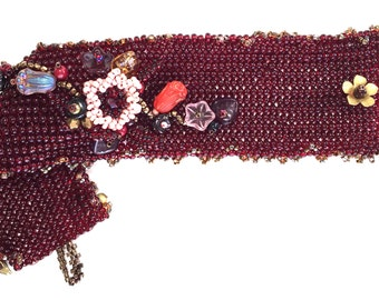 Deep Red Beaded Floral Bracelet