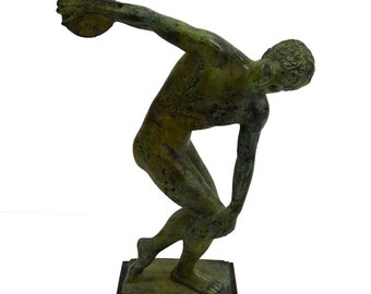 "Bronze ""Diskobolus of Myron"" discus thrower sculpture"