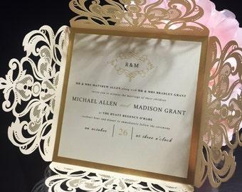 Luxurious Lasercut and Gold Foil Invitation Suite