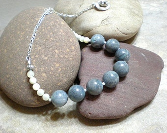 """Sponge coral necklace - large bead necklace, blue sponge coral & mother of pearl, 23"""" statement necklace, ocean jewelry, sterling silver"""