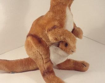 Vintage 1975 R. Dakin Kangaroo Plush Stuffed Animal Joey Baby Pouch