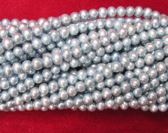 4-5 mm round silver grey Small Tiny Freshwater Pearls beads One Strand 15.8'' 40CM  100 counts jewellery making