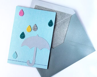 Umbrella and Raindrop Glitter Card - Thank You Card | Note Card | Blank Card | Get Well Soon Card | Birthday Card | Thinking Of You Card