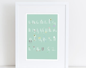 Children's pastel illustrated Alphabet Poster (A2)