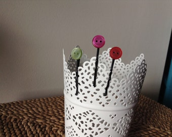 Set of 3 adorably colorful button adorned bobby pins