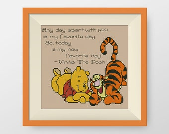BUY 2, GET 1 FREE! Winnie the Pooh cross stitch pattern, pdf counted cross stitch pattern, Quote cross stitch pattern, favorite day, #P116