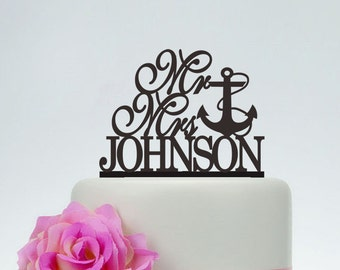 Wedding Cake Topper,Mr and Mrs Cake Topper With Last Name and Date,Unique Cake Topper,Anchor Cake Topper,Personalized Cake Topper C077