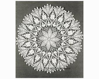 """Flower & Fern Doily Placemat Table Mat Vintage Crochet Pattern Size 30 Crochet Cotton 16"""" Diameter PDF Instant Download 16-4"""