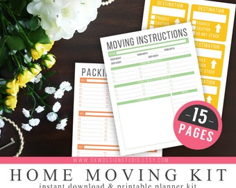 Home Moving Kit - Household Management - 15 Page Kit - Printable DIY - Moving Labels, Floor Plans, Instructions, Packing List, Checklist