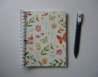 Flowers and Butterflies Upcycled Notebook