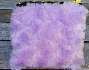 Swirls Furry Bag, Furry Cosmetic Bag, Light Purple Pouch
