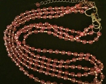 Vintage Long Triple Strand Pink Bead Necklace                VG1523