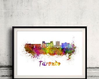 Tarento skyline in watercolor over white background with name of city 8x10 in. to 12x16 in. Poster Wall art Illustration Print  - SKU 0542