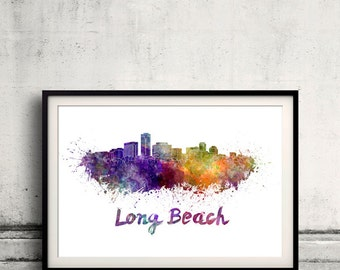 Long Beach skyline in watercolor over white background with name of city 8x10 in. to 12x16 in. Poster art Illustration Print  - SKU 0557