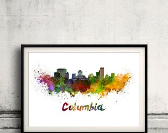 Columbia skyline in watercolor over white background with name of city 8x10 in. to 12x16 in. Poster art Illustration Print  - SKU 0568