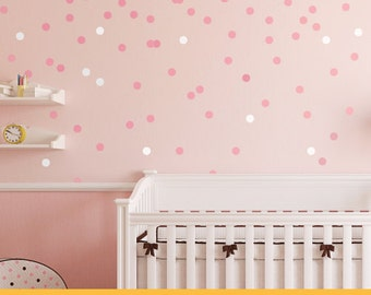 Pink Snow Dots  | Pattern Shapes Animals Kids Nursery | Removable Wall Decal Sticker | MS123VC