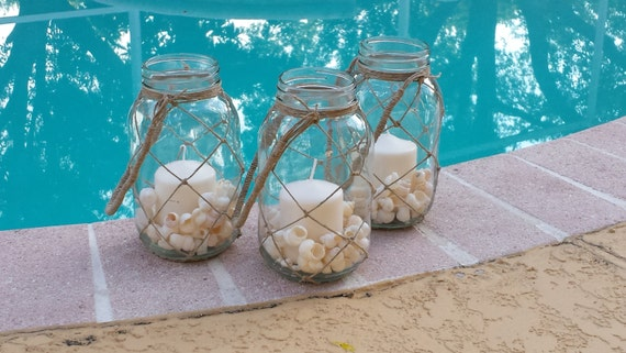 Rustic lantern-Knotted lantern-Twine lantern-Rustic candleholder-Pool décor-Beach décor-Backyard décor-Twine hanger-Mason jar-Seashell décor