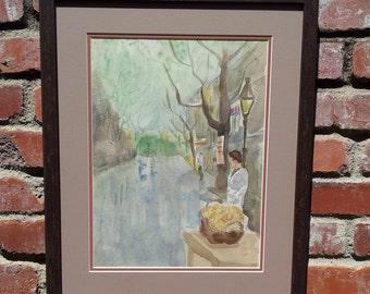Vintage Original Watercolor Street Scene