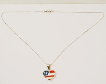 Sterling Enamel U.S. A. Flag Vintage Necklace