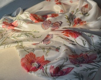 """Hand painted silk scarf. Batik scarf """"Poppies"""". The red and white scarf with flowers."""
