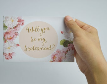 Printable will you be my bridesmaid card rose gold will you be vintage will you be my bridesmaid card floral will you be my maid of honor template pronofoot35fo Image collections