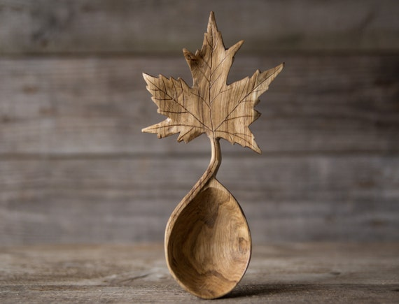 Hand carved oak wood maple leaf serving spoon by gilesnewman