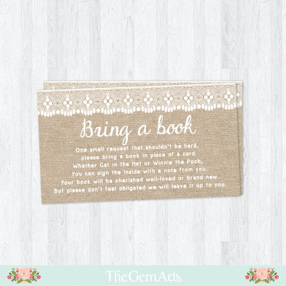 bring a book instead of a card rustic baby shower card burlap with