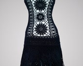 Cha Cha. Black cotton party or casual crochet dress for women. Ready to ship.