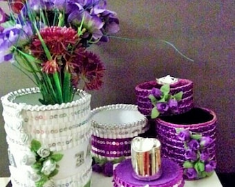 SPECIAL EVENT Decorated Re-cycled Household Cans Holds or Displays Anything Right Side Up or Upside Down!