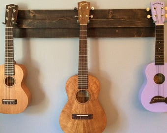 Wooden Ukulele Wall Hanger (also great for a mix of ukulele, banjo, mandolin, etc.)