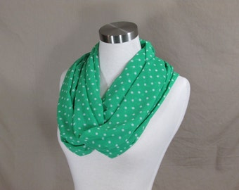 Infinity Scarf in Green with White Polka Dots Handmade Lightweight Scarf Spring Scarf Summer Scarves