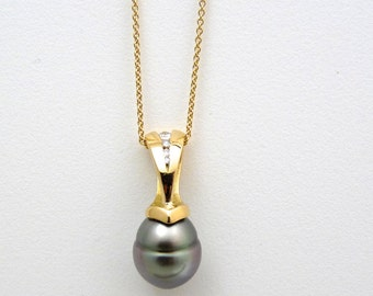 Tahitian black pearl pendant, pearl & diamond pendant, solid 18K, pearl and diamond jewelry, timeless classical black pearl pendant unique